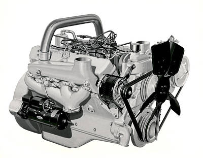 V-8 Gmc Diesel Engine Poster by Underwood Archives