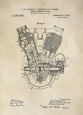 V-twin Combustion Engine Patent  1914 Poster by Daniel Hagerman