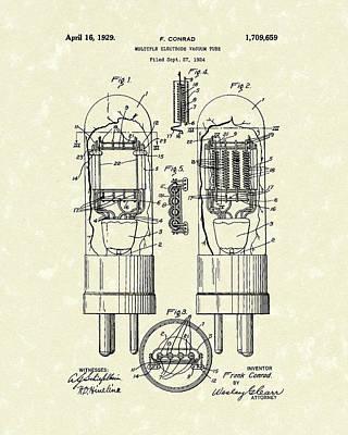 Vacuum Tube 1929 Patent Art Poster by Prior Art Design