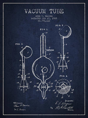 Vacuum Tube Patent From 1905 - Navy Blue Poster by Aged Pixel
