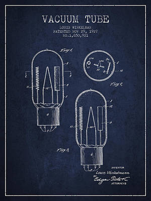 Vacuum Tube Patent From 1927 - Navy Blue Poster by Aged Pixel