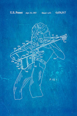 Van Halen Instrument Support Patent Art 1987 Blueprint Poster by Ian Monk