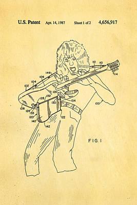 Van Halen Instrument Support Patent Art 1987 Poster by Ian Monk