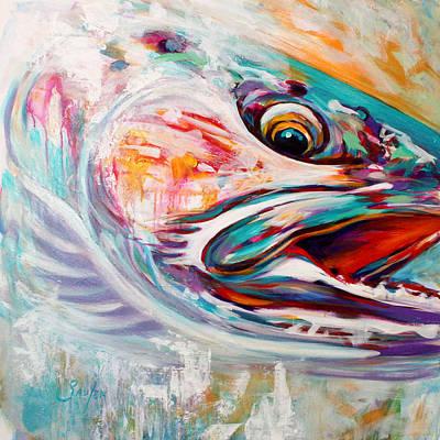 Vanishing Native - Steelhead Trout Flyfishing Art Poster by Savlen Art