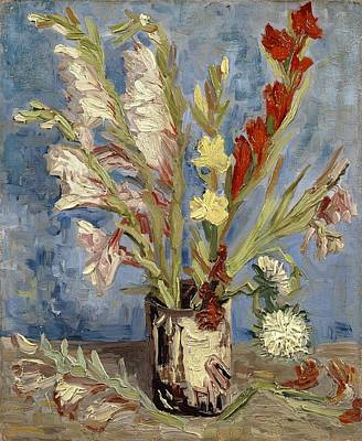 Vase With Gladioli And China Asters Poster by Vincent van Gogh