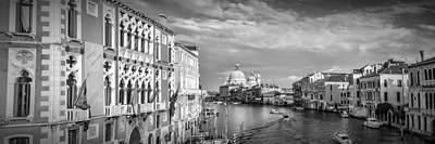 Venice Canal Grande Santa Maria Della Salute Black And White Poster by Melanie Viola