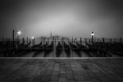 Venice Gondolas On A Foggy Morning Poster by Melanie Viola