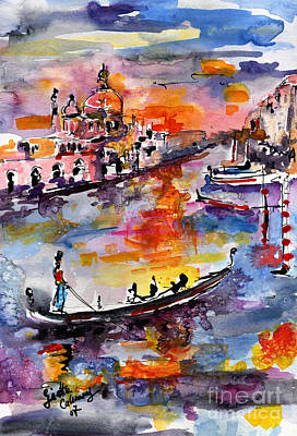 Venice Italy Gondolas Grand Canal Watercolor Poster by Ginette Callaway
