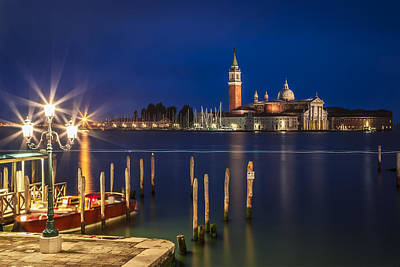 Venice San Giorgio Maggiore At Blue Hour Poster by Melanie Viola