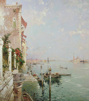 Venice View From The Zattere With San Giorgio Maggiore In The Distance Poster by Franz Richard Unterberger