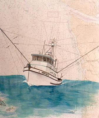 Venture II Tuna Fishing Boat Nautical Chart Map Art Poster by Cathy Peek