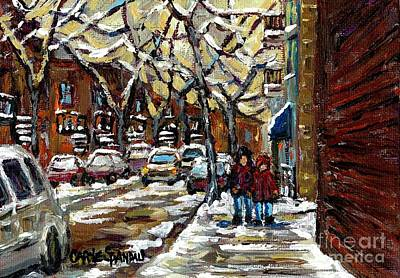 Verdun Winter Row Houses In January Montreal Paintings Time For A Walk Carole Spandau Poster by Carole Spandau