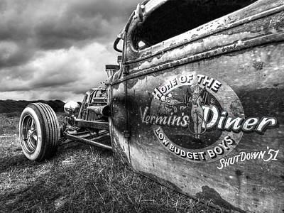 Vermin's Diner Rat Rod In Black And White Poster by Gill Billington