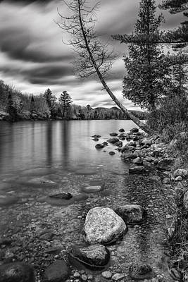 Vermont Groton Ricker Pond Autumn Landscape Black And White Poster by Andy Gimino