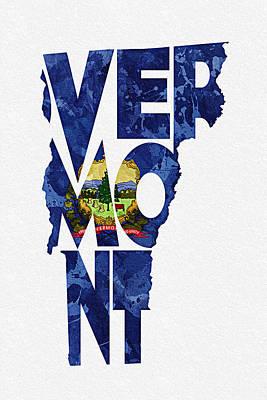 Vermont Typographic Map Flag Poster by Ayse Deniz