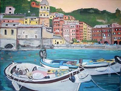 Vernazza Harbor Poster by Teresa Dominici