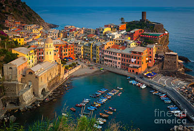 Dusk Poster featuring the photograph Vernazza Pomeriggio by Inge Johnsson