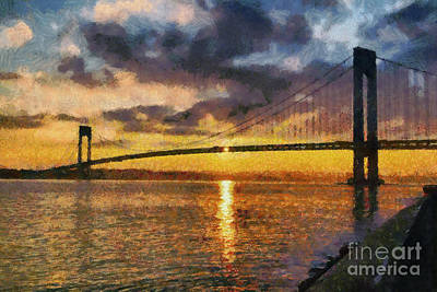 Verrazano Bridge During Sunset Poster by George Atsametakis