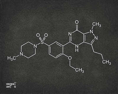 Viagra Molecular Structure Gray Poster by Nikki Marie Smith