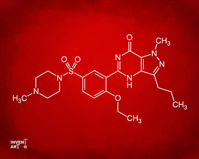 Viagra Molecular Structure Red Poster by Nikki Marie Smith