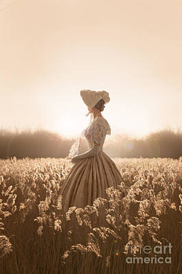 Victorian Woman In A Meadow Poster by Lee Avison