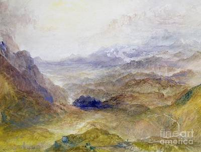View Along An Alpine Valley Poster by Joseph Mallord William Turner