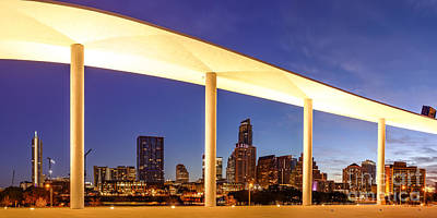 View Of Downtown Austin Skyline From The Long Center - Texas Hill Country - Austin Texas Poster by Silvio Ligutti