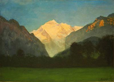 View Of Glacier Park Or Sunset On Peak Poster by Albert Bierstadt