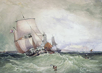 View Of Scarborough, With A Collier Brig Poster by William Roxby Beverly