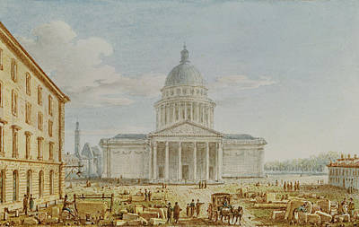 View Of The Church Of St. Genevieve, The Pantheon, 18th-19th Century Wc On Paper Poster by Victor Jean Nicolle