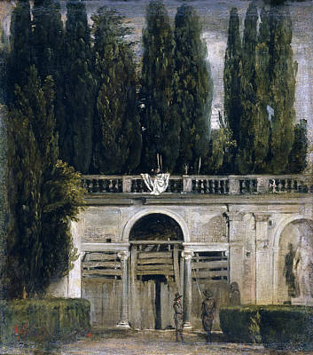 View Of The Garden Of The Villa Medici Poster by Diego Velazquez