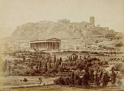 View Of The Theseion With The Acropolis In The Distance Poster by Petros Moraitis