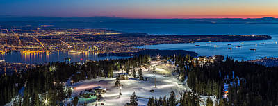View Of Vancouver City From Grouse Mountain Poster by Pierre Leclerc Photography