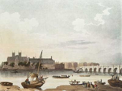 View Of Westminster And The Bridge Wc On Paper Poster by English School