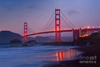 View Of World Famous Golden Gate Bridge From Baker Beach In San Francisco At Twilight Night.  Poster by Jamie Pham