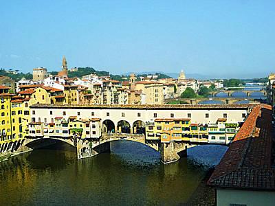 View On Ponte Vecchio From Uffizi Gallery Poster by Irina Sztukowski