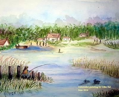 Village Scene Poster by Usha Rai