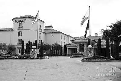 Vineyard Creek Hyatt Hotel Santa Rosa California 5d25787 Bw Poster by Wingsdomain Art and Photography