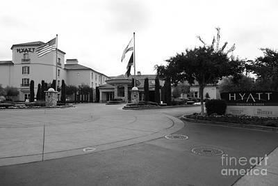 Vineyard Creek Hyatt Hotel Santa Rosa California 5d25789 Bw Poster by Wingsdomain Art and Photography