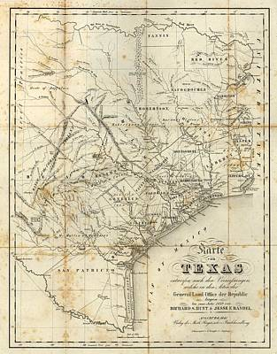Vintage 1841 Texas Map Poster by Dan Sproul