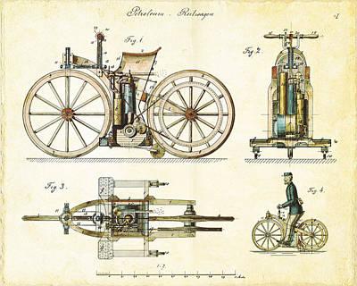 Vintage 1885 Daimler Reitwagen First Motorcycle Poster by Nikki Marie Smith