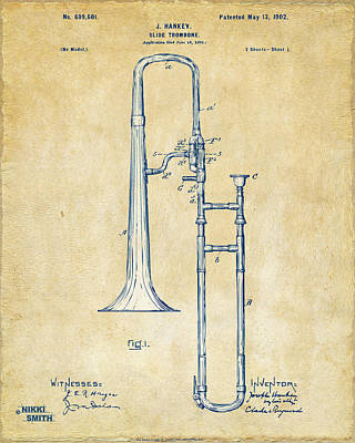 Vintage 1902 Slide Trombone Patent Artwork Poster by Nikki Marie Smith