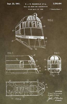 Vintage 1941 Train Patent Poster by Dan Sproul