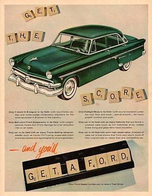 Vintage 1954 Ford Classic Car Advert Poster by Georgia Fowler