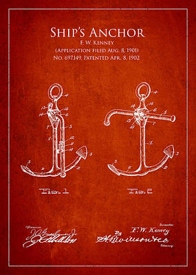 Vintage Anchor Patent Drawing From 1902 Poster by Aged Pixel