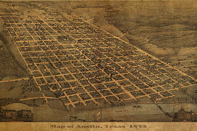 Vintage Austin Texas In 1873 City Map On Worn Canvas Poster by Design Turnpike
