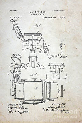 Vintage Barber Chair Patent Poster by Paul Ward