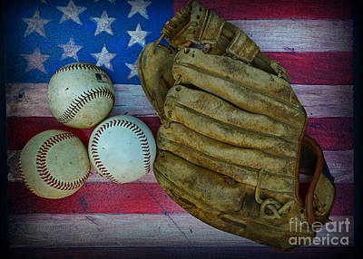 Vintage Baseball Glove And Baseballs On American Flag Poster by Paul Ward