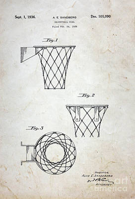 Vintage Basketball Hoop Patent Poster by Paul Ward