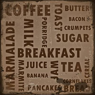 Vintage Breakfast Poster by Sharon Lisa Clarke